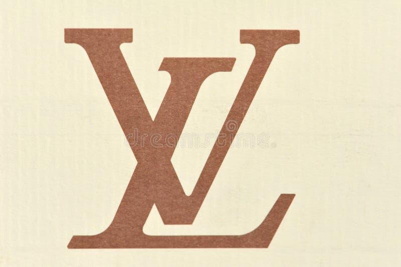 Carton de vuitton de louis de logo photographie stock