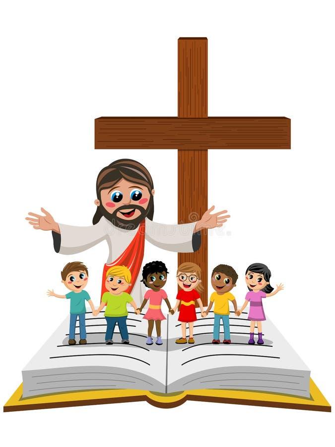 Carton open arms Jesus kids children hand in hand open bible gospel royalty free illustration