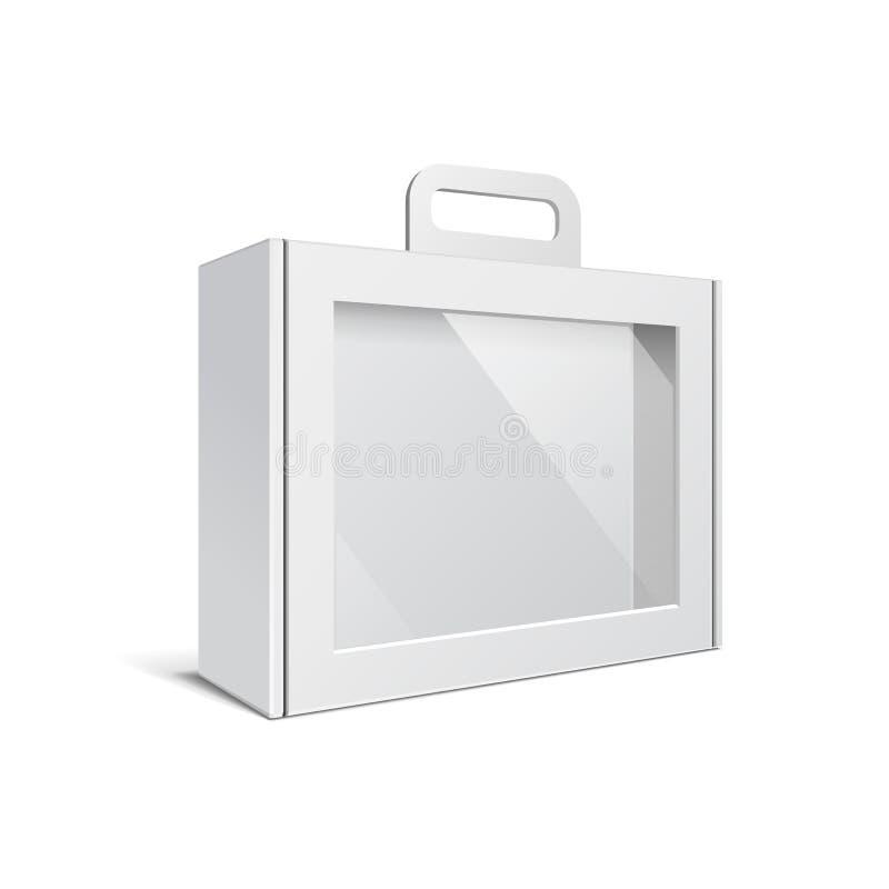 Carton ou boîte vide blanche en plastique de paquet avec la poignée Serviette, cas, dossier, cas de portfolio illustration stock