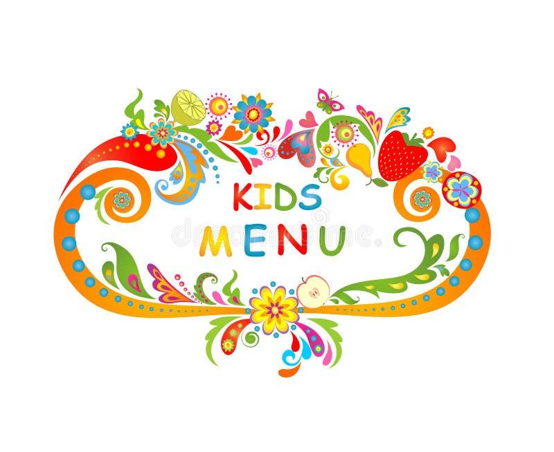 Carton pour le menu d'enfants illustration stock