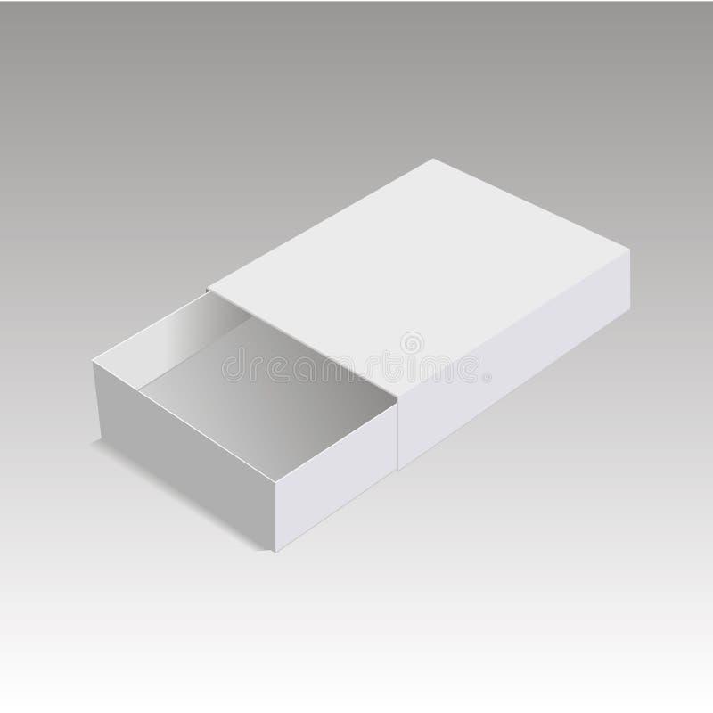 Carton réaliste de paquet glissant la boîte ouverte Pour de petits articles, matchs et d'autres choses Illustration de vecteur illustration de vecteur