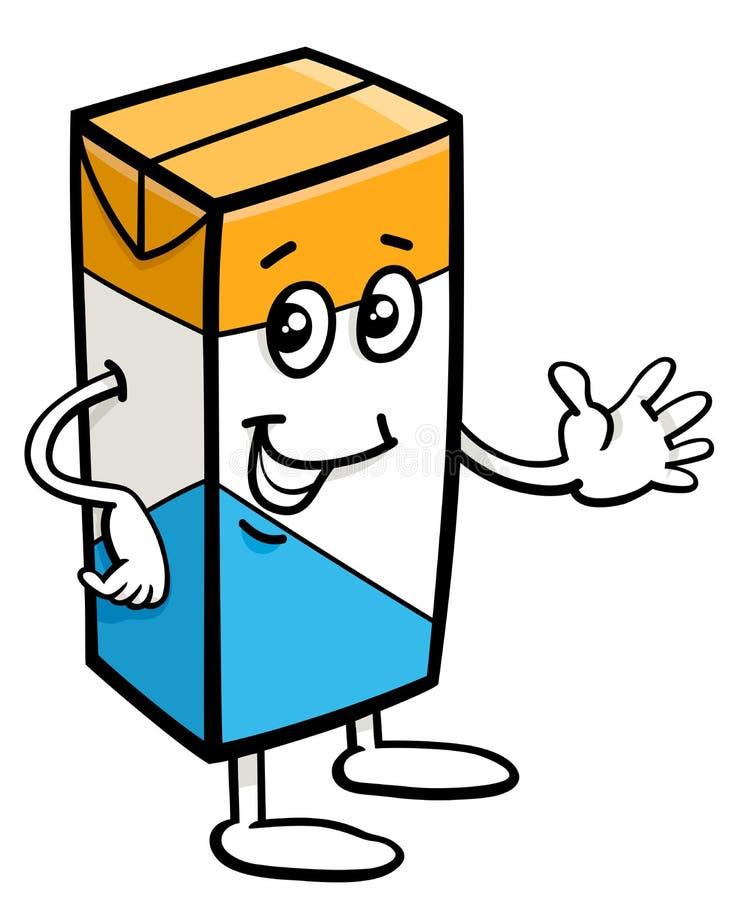 Cartone del carattere del latte illustrazione di stock