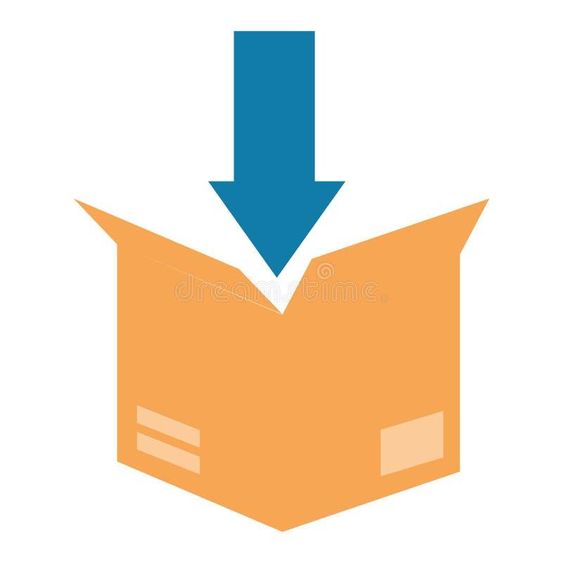 Cartone del contenitore di imballaggio con la freccia giù illustrazione vettoriale