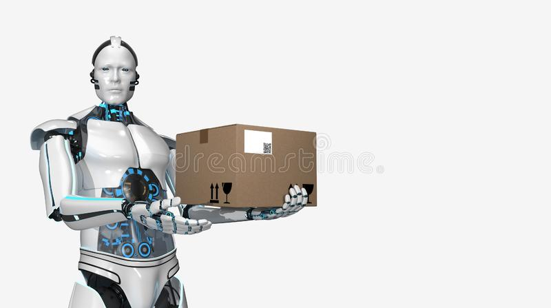 Cartone di trasporto del robot di umanoide royalty illustrazione gratis