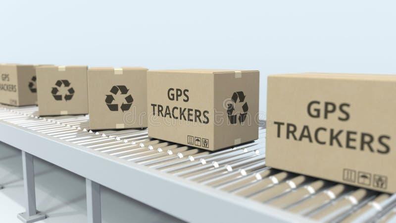 Cartons avec des traqueurs de GPS sur le convoyeur de rouleau rendu 3d illustration stock