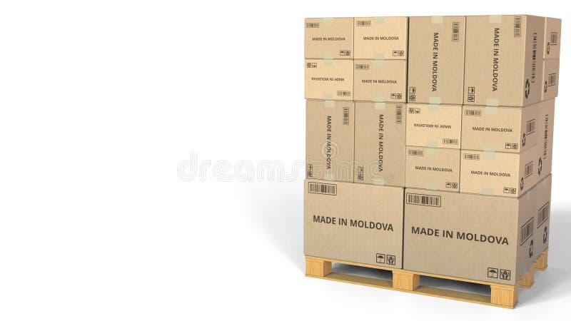 Cartons avec FAIT EN inscription de MOLDAU Rendu 3d conceptuel illustration stock