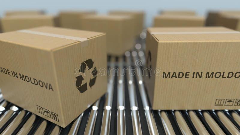 Cartons avec FAIT EN texte de MOLDAU sur le convoyeur de rouleau Les marchandises moldoves ont rapporté le rendu 3D illustration de vecteur