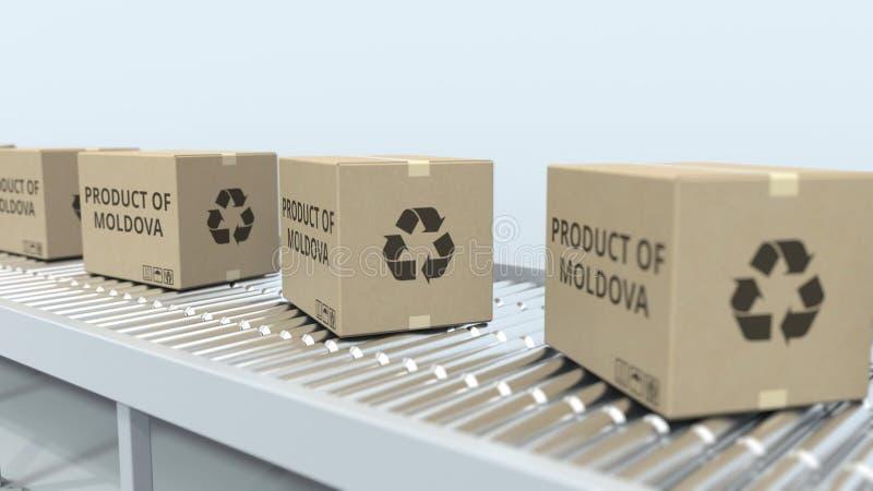 Cartons avec le PRODUIT du texte de MOLDAU sur le convoyeur de rouleau Rendu 3D relatif moldove d'importation ou d'exportation illustration stock