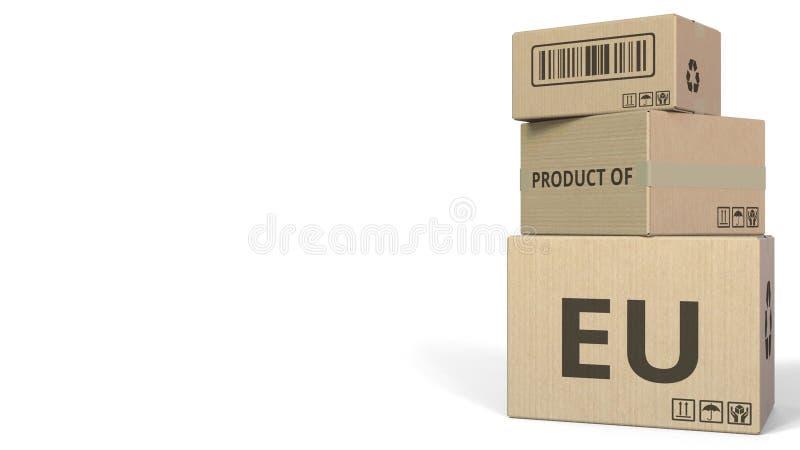 Cartons en baisse avec le PRODUIT du texte d'UE rendu 3d illustration de vecteur