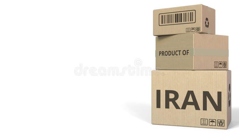 Cartons en baisse avec le PRODUIT du texte de l'IRAN rendu 3d illustration de vecteur