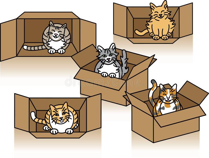cartons gulliga katter royaltyfri illustrationer