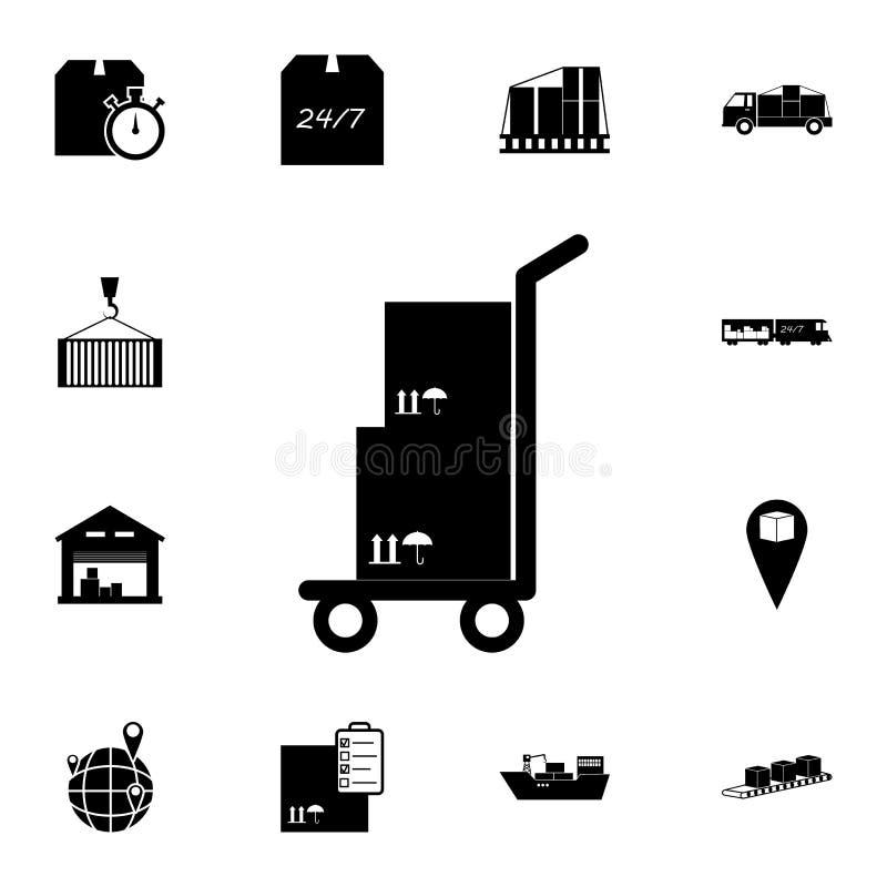 cartons pour le chariot sur une icône de chariot Ensemble détaillé d'icônes logistiques Icône de la meilleure qualité de concepti illustration de vecteur