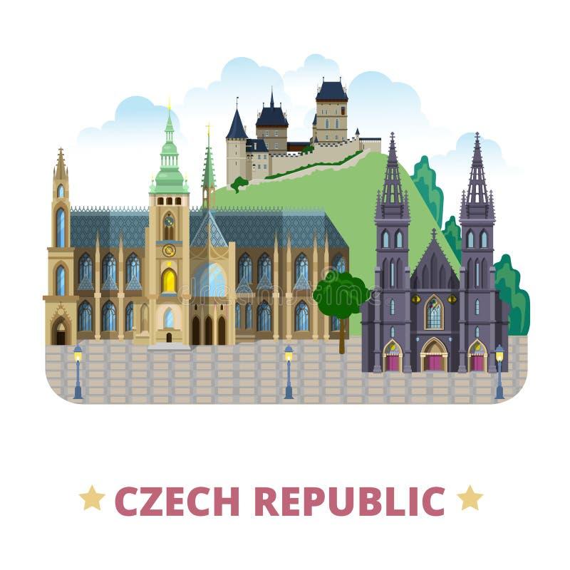 Cartoo plano de la plantilla del diseño del país de la República Checa stock de ilustración