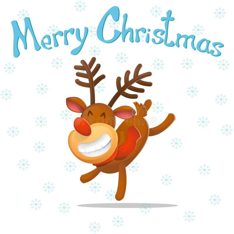 cartoon Ο αστείος χορευτής ελαφιών, συγχαίρει στα Χριστούγεννα santa ταράνδων Claus νέο έτος Χριστούγεννα εύθυμα διανυσματική απεικόνιση