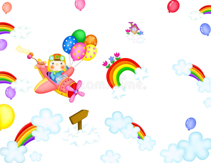 Cartoon. Relative image to a pilot that brings airplane among clouds and rainbows stock illustration