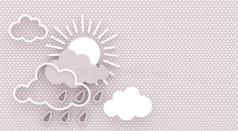 Cartoon abstract composition with the sun and clouds with raindrops on the sky. Wall decor. Greeting card with copy space. 3D ren stock illustration