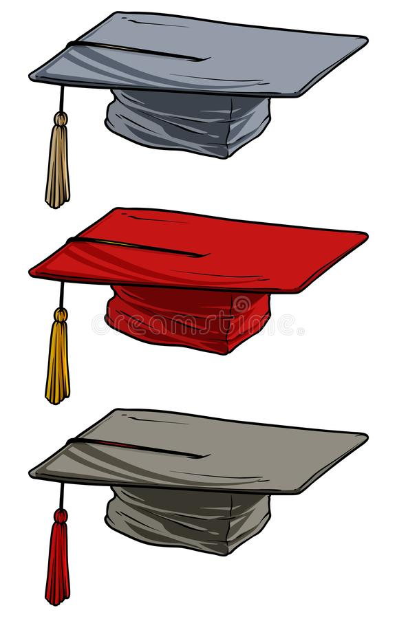 Cartoon academic graduation mortarboard square cap royalty free illustration