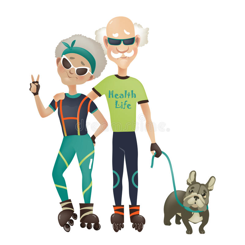 Cartoon active old couple, man and woman doing. Sport. Vector illustration vector illustration