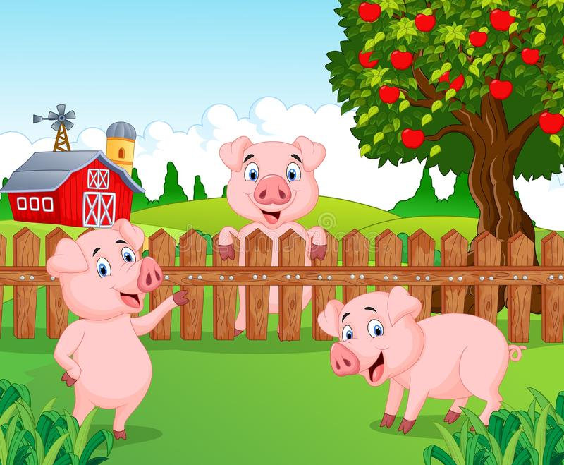 Download Cartoon Adorable Baby Pig On The Farm Stock Vector