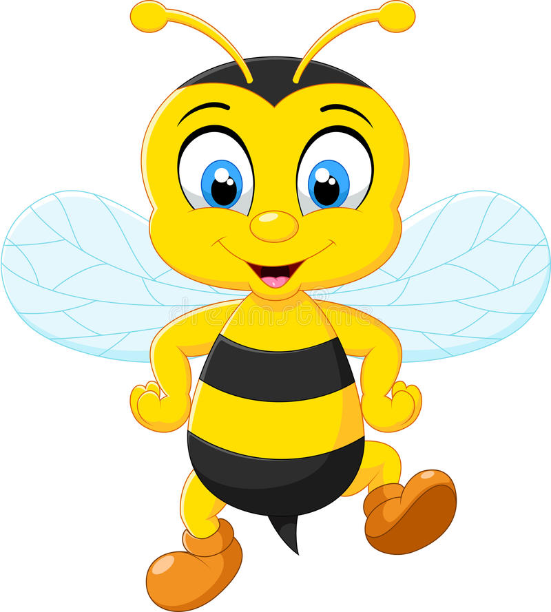 Cartoon adorable bees posing. Illustration of Cartoon adorable bees posing stock illustration