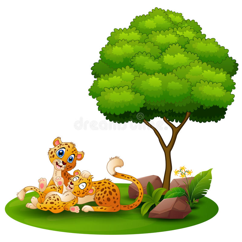 Cartoon adult cheetah with cub cheetah under a tree on a white background. Illustration of Cartoon adult cheetah with cub cheetah under a tree on a white vector illustration