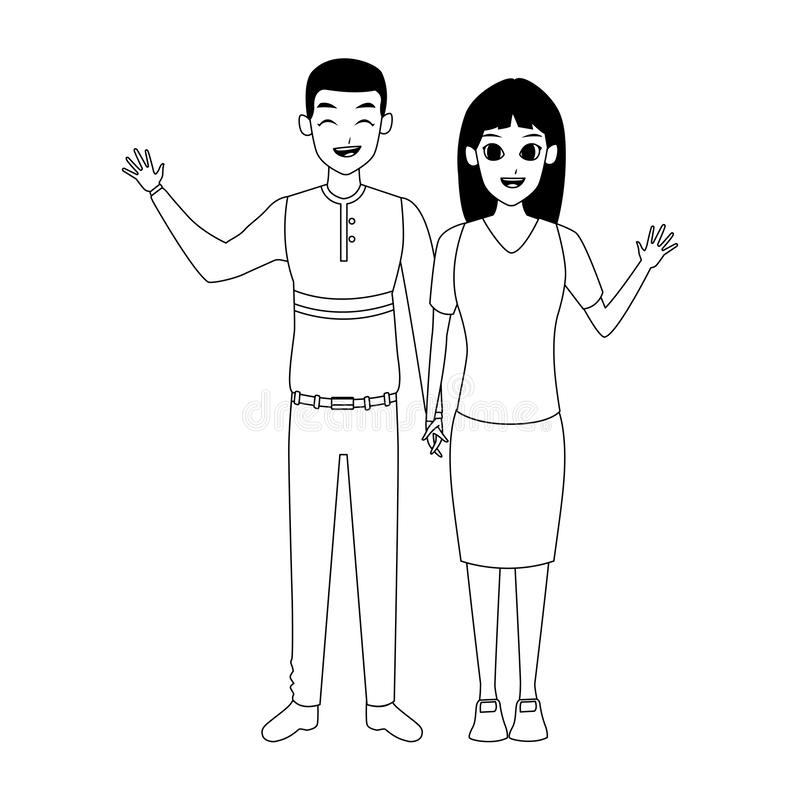 Cartoon adult couple icon, flat design. Cartoon adult couple waving icon over white background, flat design. vector illustration vector illustration