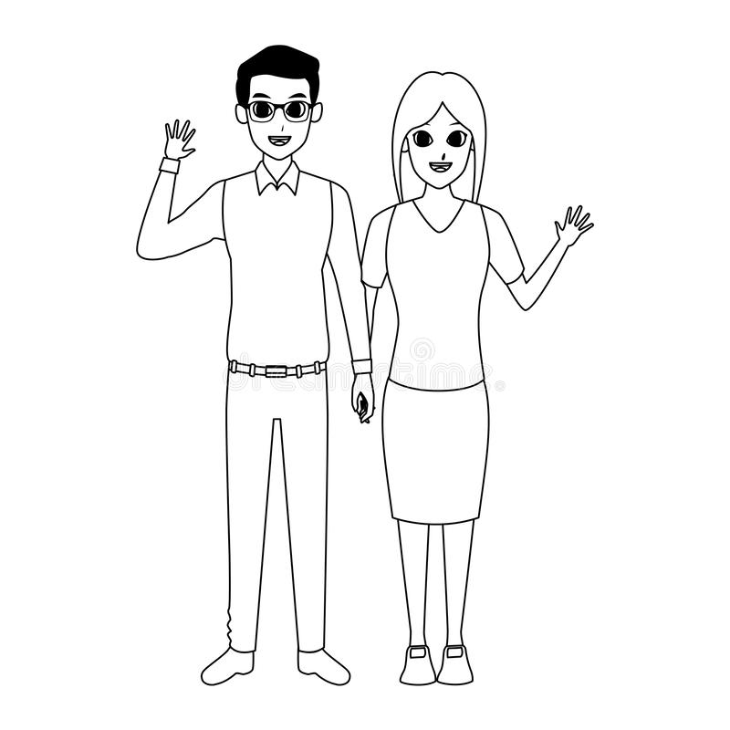 Cartoon adult couple standing icon, flat design. Cartoon adult couple standing and waving icon over white background, vector illustration stock illustration