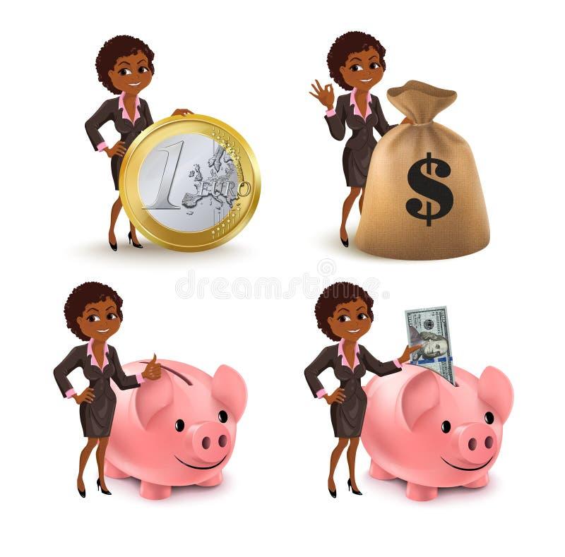 Cartoon African American business woman money set stock illustration