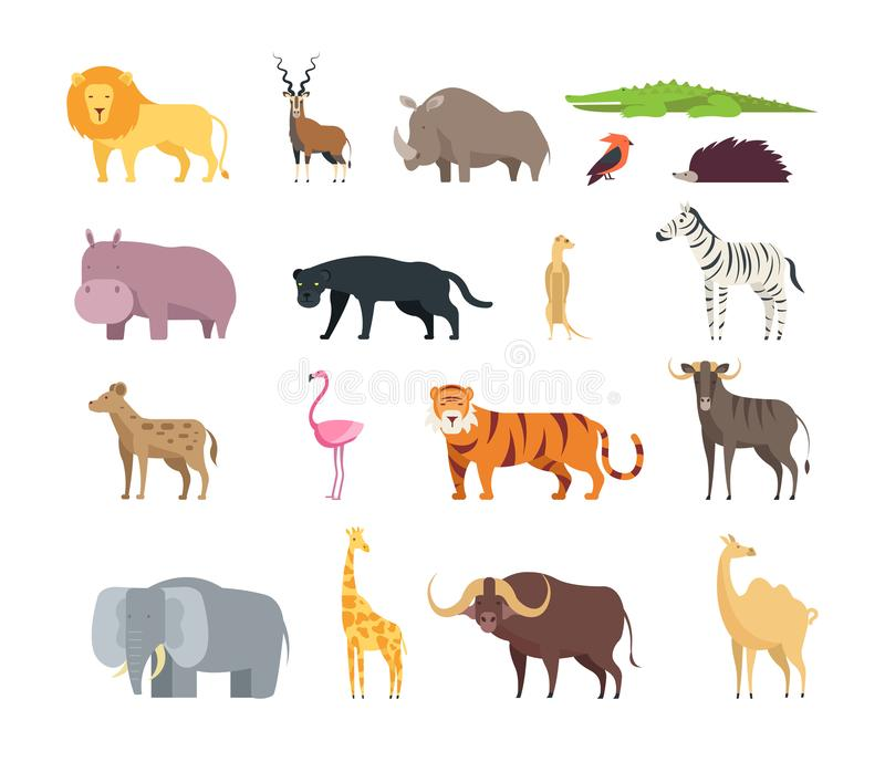 Cartoon african savannah animals. Wild zoo safari mammals, reptiles and birds vector set isolated on white background royalty free illustration