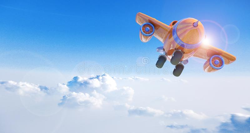 Cartoon airplane flying above clouds royalty free stock photos