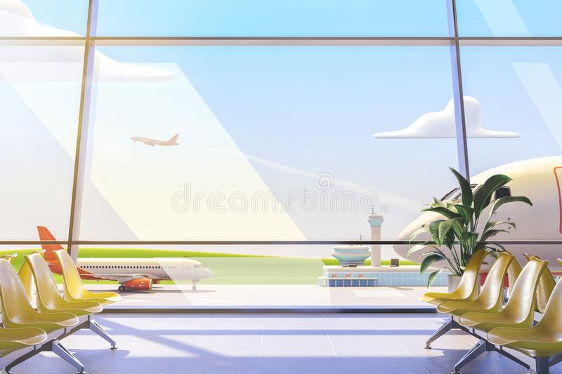Cartoon airport terminal lounge with airplane on background. 3d illustration. stock image