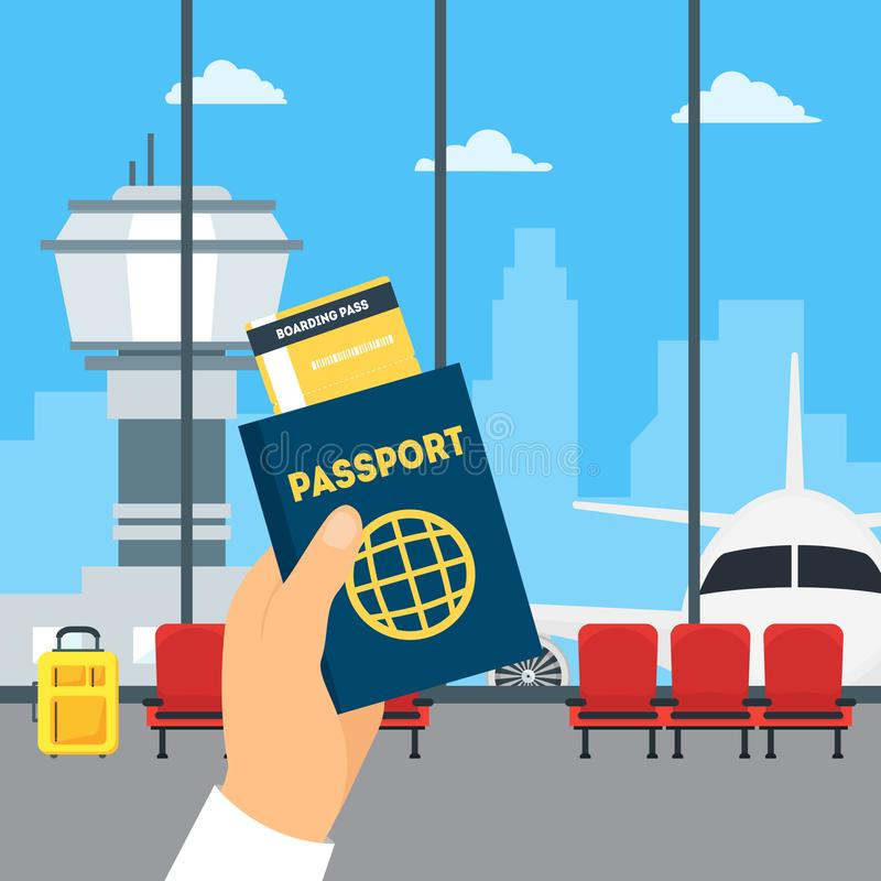 Cartoon Airport Waiting Interior of Terminal Hall and Hand Holding Passport. And Boarding Pass Travel Concept Flat Design Style. Vector illustration of Wait royalty free illustration