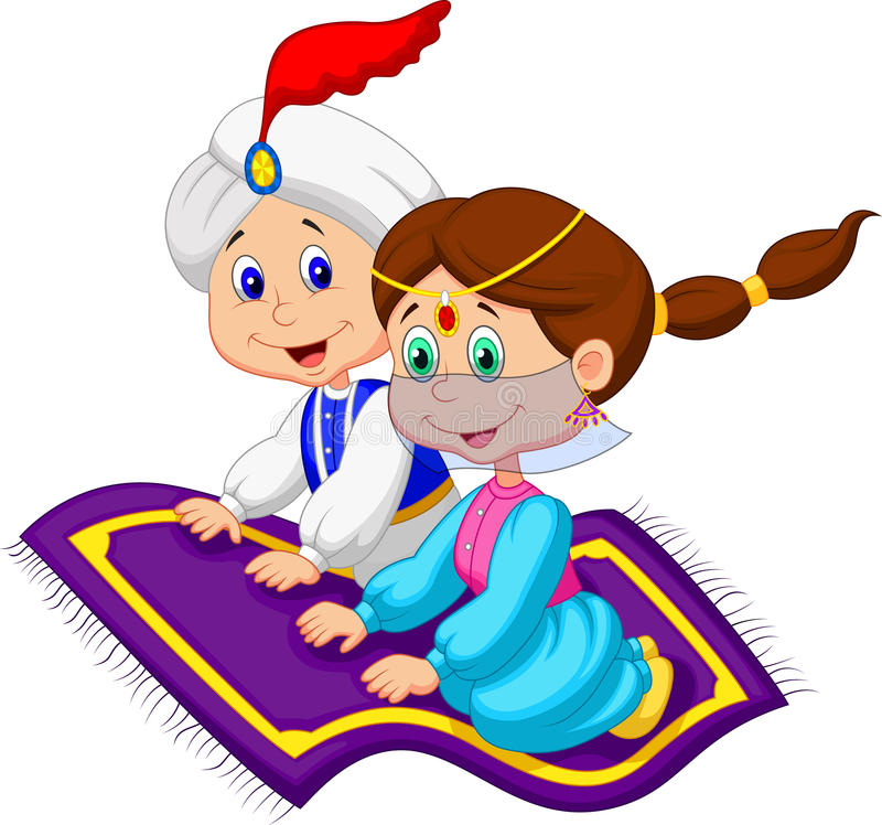 Cartoon Aladdin on a flying carpet traveling royalty free illustration