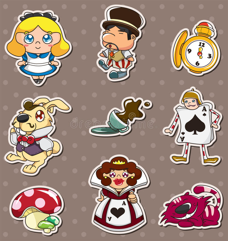Download Cartoon Alice In Wonderland Stickers Stock Vector - Illustration: 24551978
