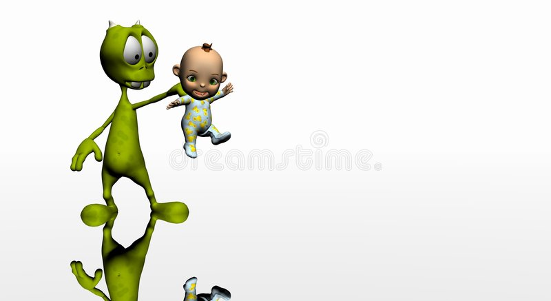 Cartoon alien and baby royalty free illustration
