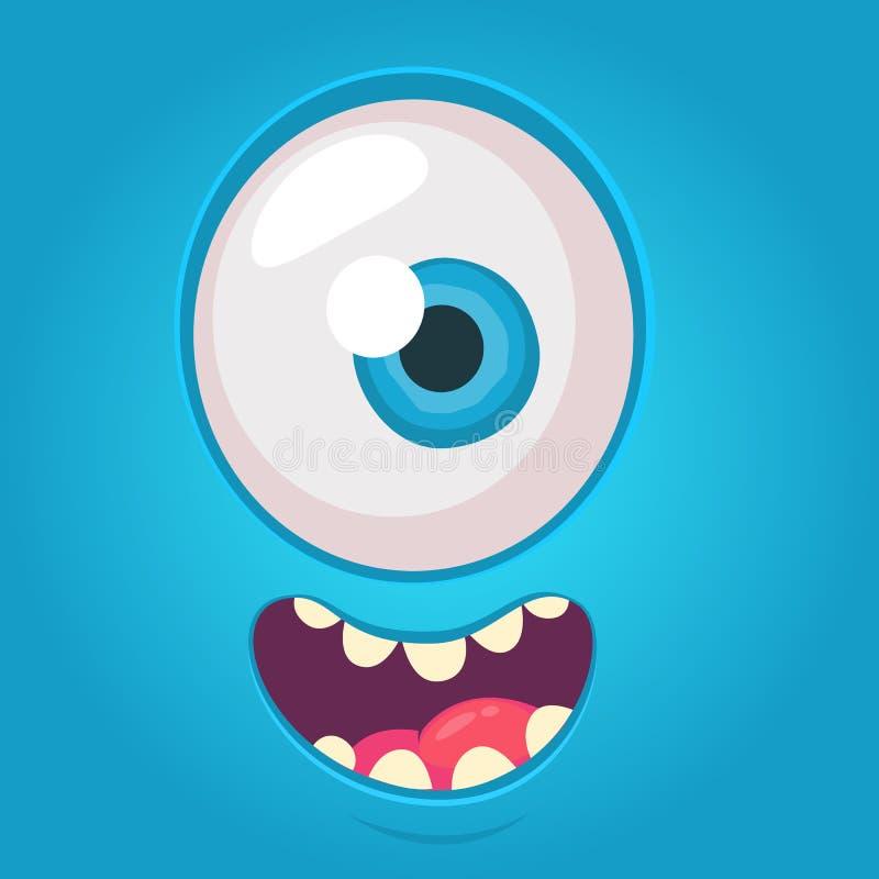 Cartoon alien face. Vector Halloween blue monster with one eye. Cartoon alien face. Vector Halloween blue monster with one eye vector illustration