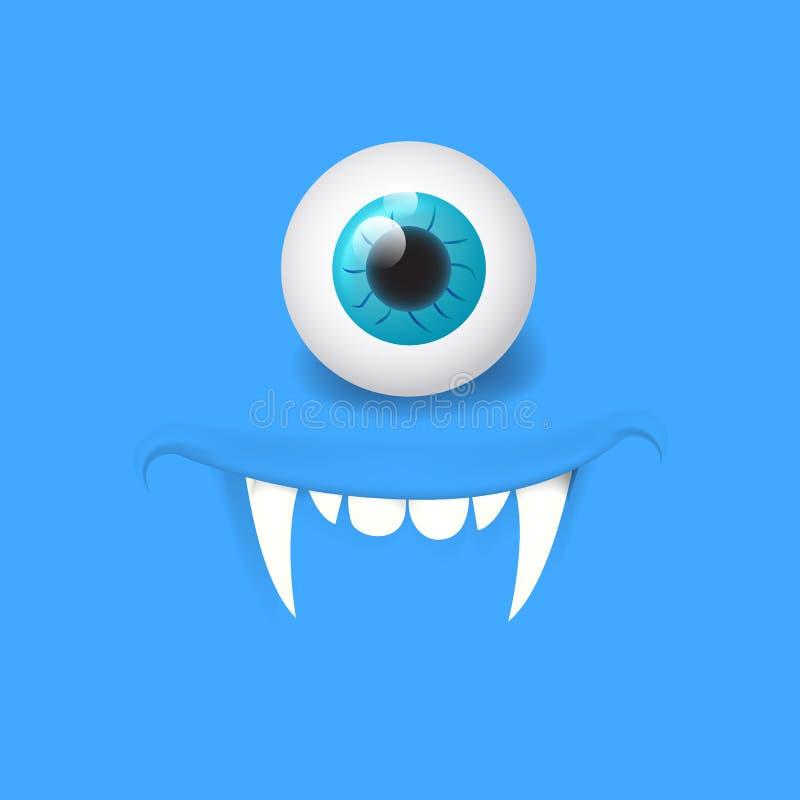 Cartoon alien vampire face. Vector Halloween monster with one eye. Design for print, decoration, logo, emblem, book illustration,. Cartoon alien face. Vector vector illustration