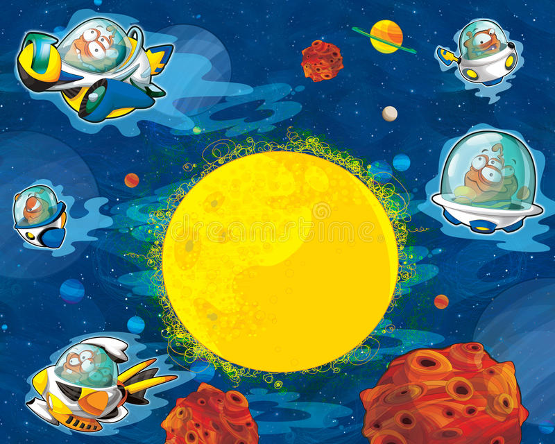 Cartoon aliens subject - ufo - star - space for text - happy and funny mood. Happy and colorful traditional illustration for children - scene for different usage vector illustration