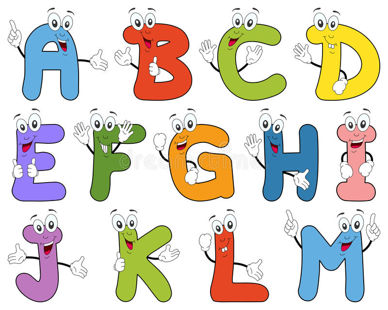 Cartoon Alphabet Characters A-M royalty free illustration