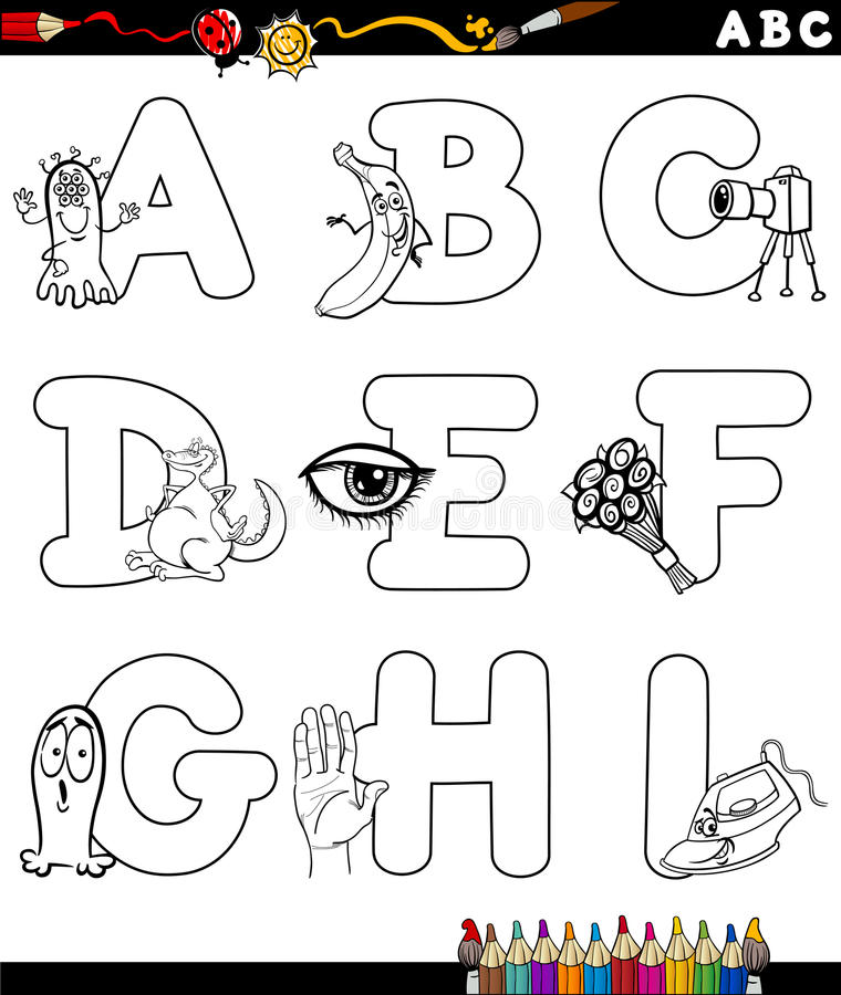 Cartoon Alphabet Coloring Page Stock Vector