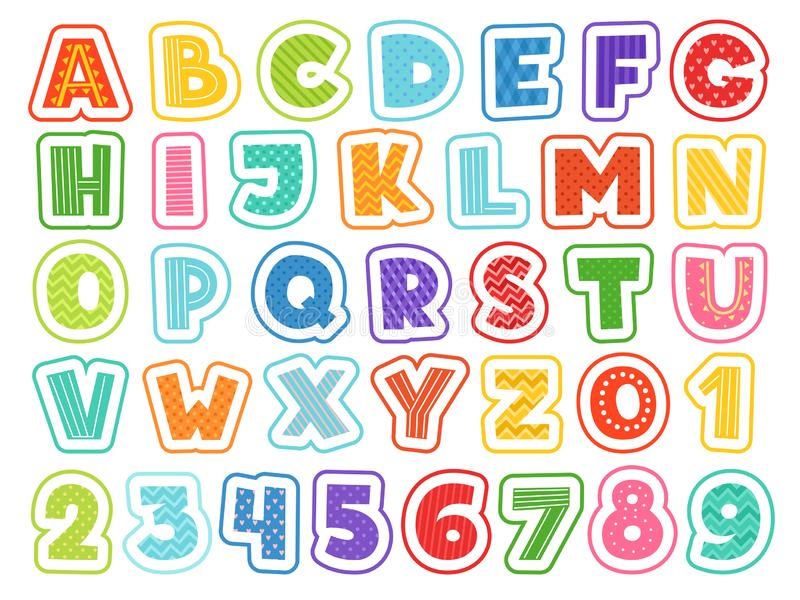 Cartoon alphabet. Cute colored letters numbers signs and symbols for school kids and childrens vector funny font vector illustration
