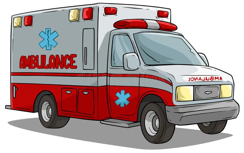 Cartoon ambulance emergency car or truck vector illustration