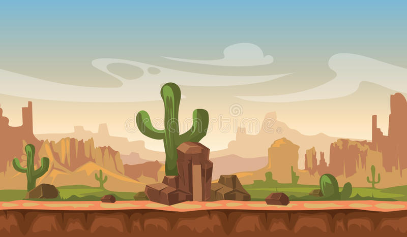 Cartoon america prairie desert landscape with cactus, hills and mountains. game seamless vector background royalty free illustration