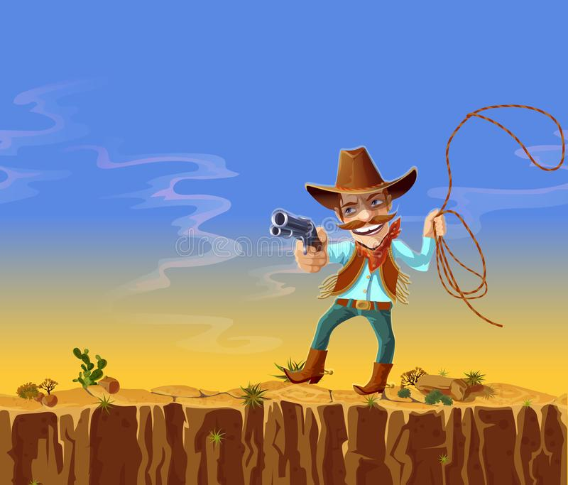 cartoon american cowboy with gun and lasso royalty free illustration