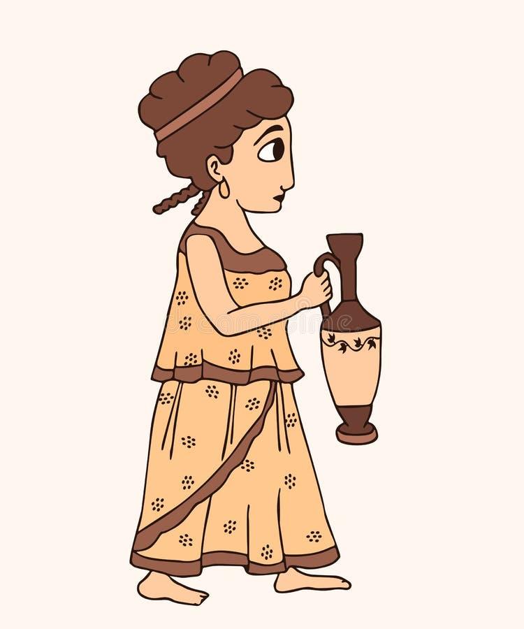Cartoon ancient greek girl with jug. Vector historical illustration stock illustration