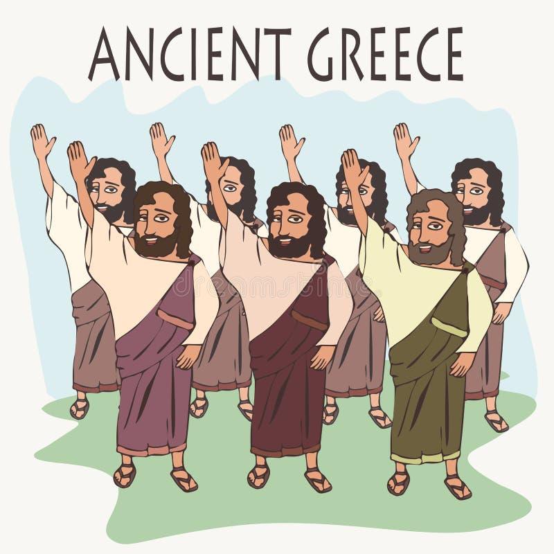 Cartoon ancient greek hand vote. Ancient greek hand vote, funny cartoon vector illustration of democracy origins royalty free illustration