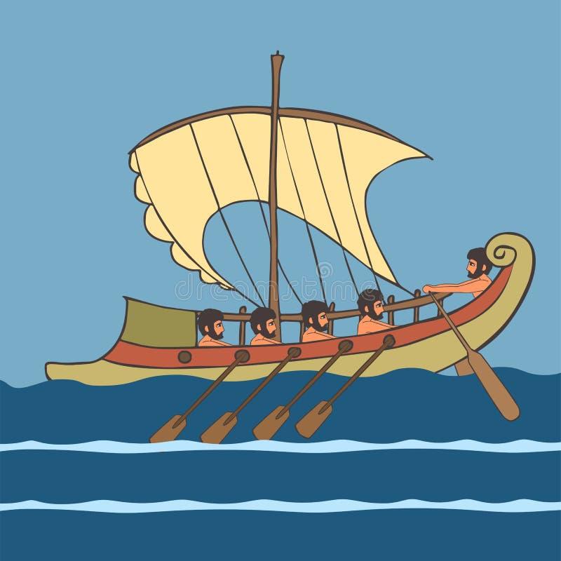 Cartoon ancient greek ship with rowers at sea. Ancient greek ship with rowers at sea, vector cartoon illustration of historic transportation stock illustration