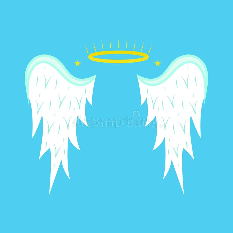 Cartoon Angel Wings on a Blue Background. Vector royalty free illustration