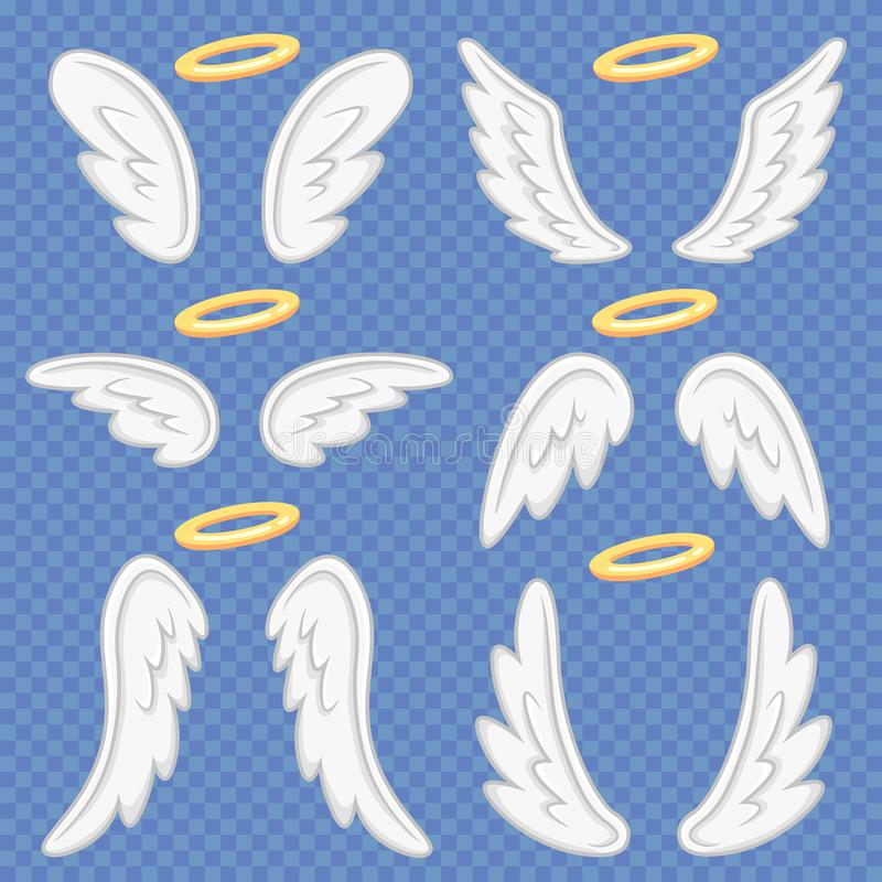Cartoon angel wings. Holy angelic nimbus and angels wing. Flying winged angeles vector illustration set vector illustration
