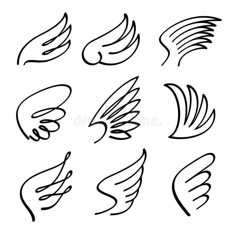 cartoon angel wings vector set sketch doodle winged abstract rh dreamstime com angel wings victoria's secret angel wing vector image